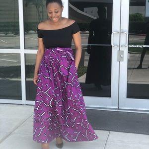 African Ankara women full length maxi skirt